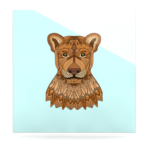 "Art Love Passion ""Lioness"" Blue Brown Luxe Square Panel - KESS InHouse  - 1"