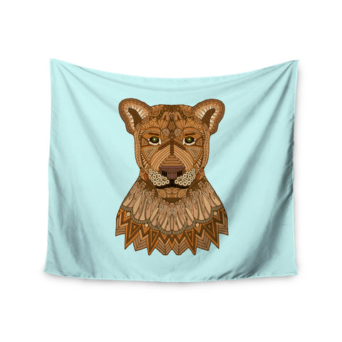 "Art Love Passion ""Lioness"" Blue Brown Wall Tapestry - KESS InHouse  - 1"