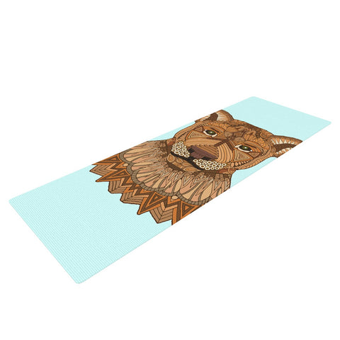 "Art Love Passion ""Lioness"" Blue Brown Yoga Mat - KESS InHouse  - 1"