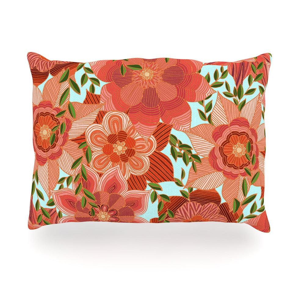 "Art Love Passion ""Flower Power"" Red Floral Oblong Pillow - KESS InHouse"