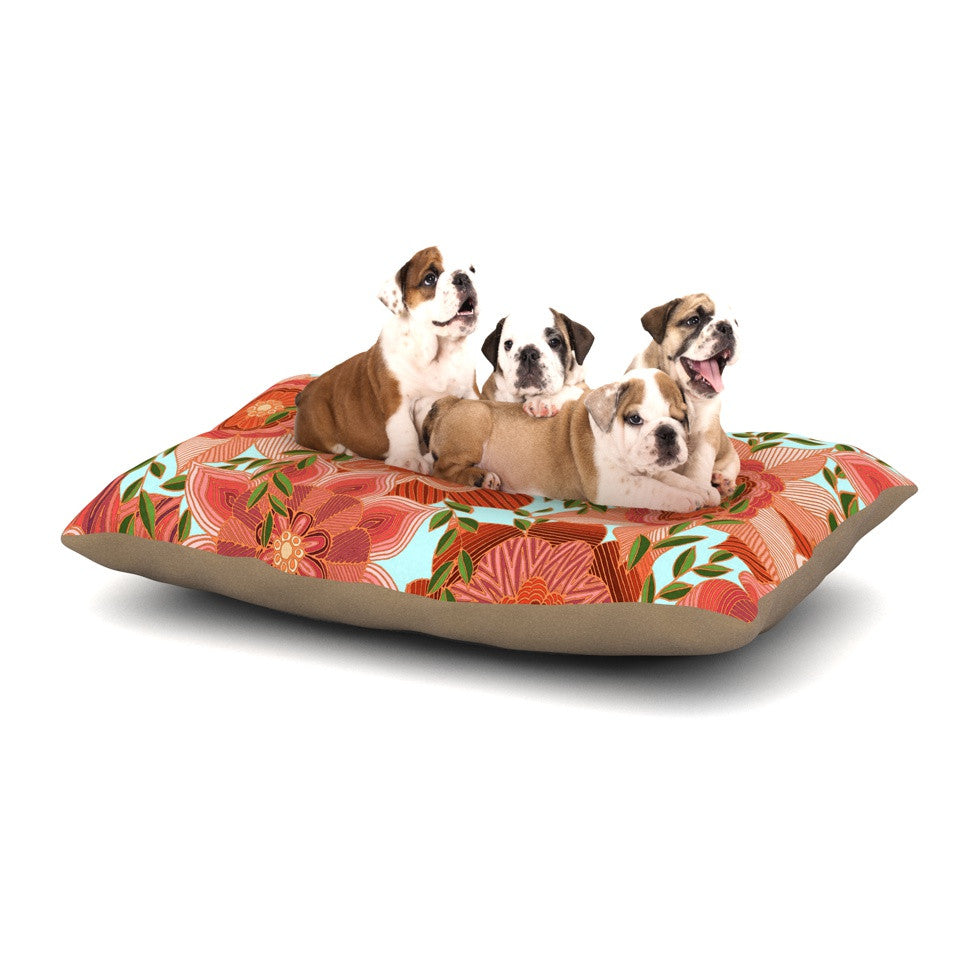 "Art Love Passion ""Flower Power"" Red Floral Dog Bed - KESS InHouse  - 1"
