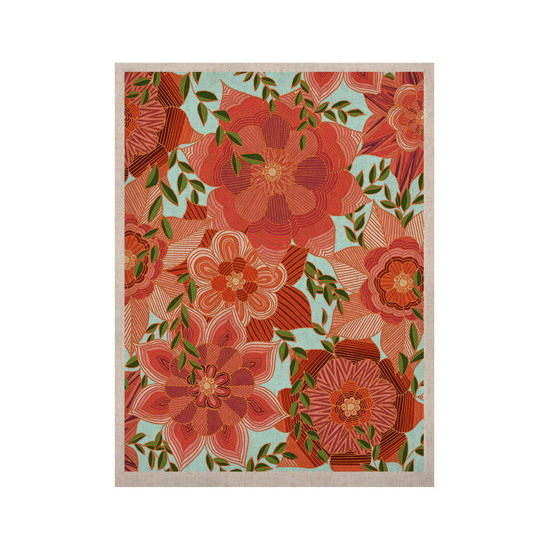 "Art Love Passion ""Flower Power"" Red Floral KESS Naturals Canvas (Frame not Included) - KESS InHouse  - 1"