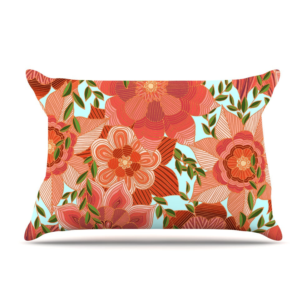 "Art Love Passion ""Flower Power"" Red Floral Pillow Sham - KESS InHouse  - 1"