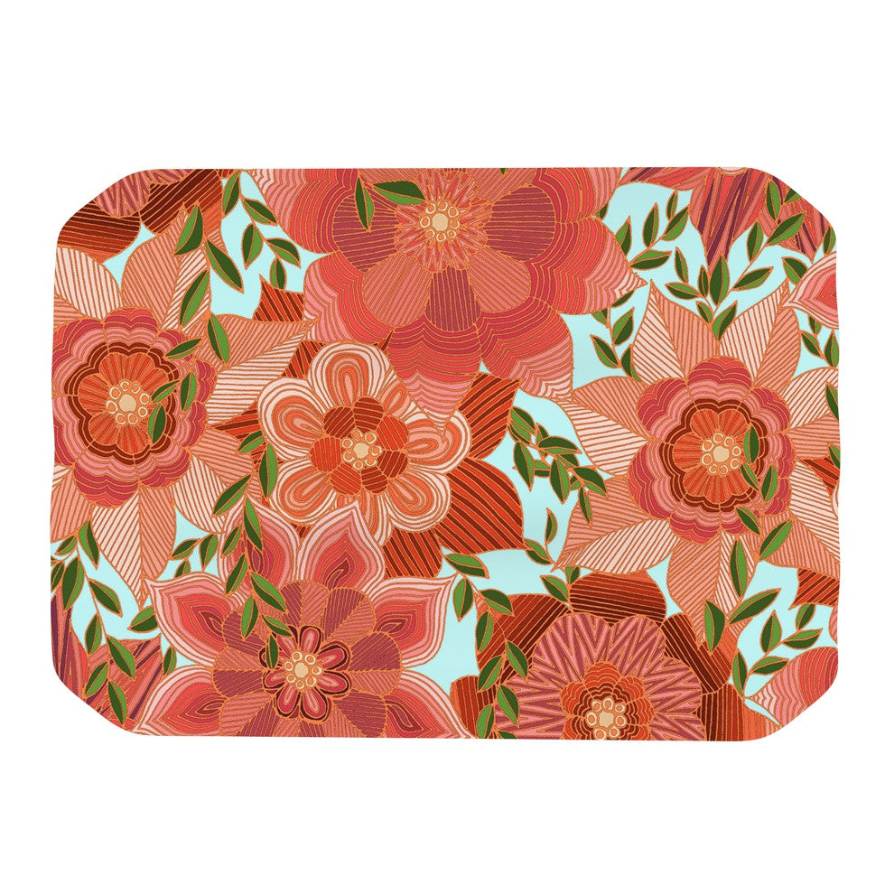 "Art Love Passion ""Flower Power"" Red Floral Place Mat - KESS InHouse"