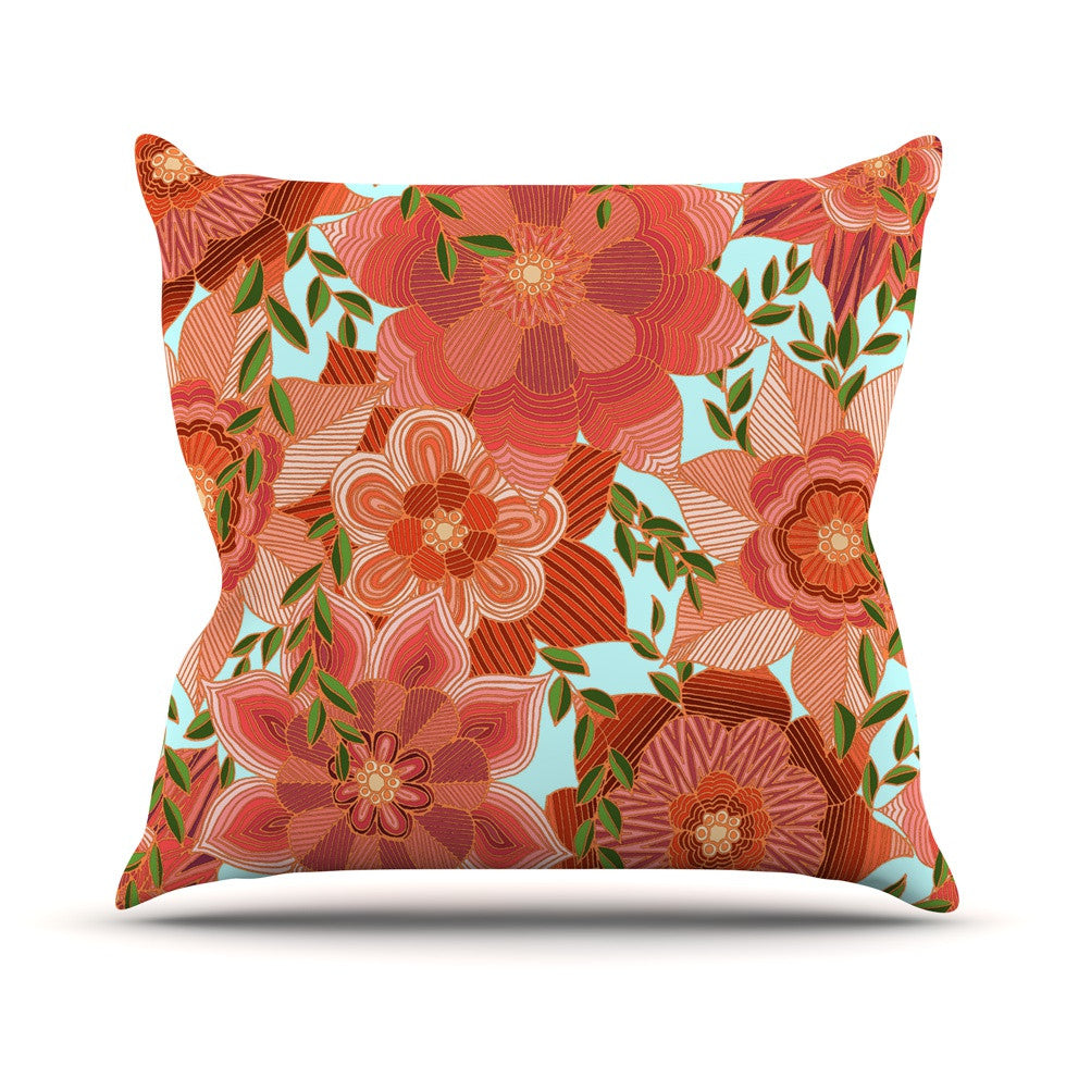 "Art Love Passion ""Flower Power"" Red Floral Outdoor Throw Pillow - KESS InHouse  - 1"