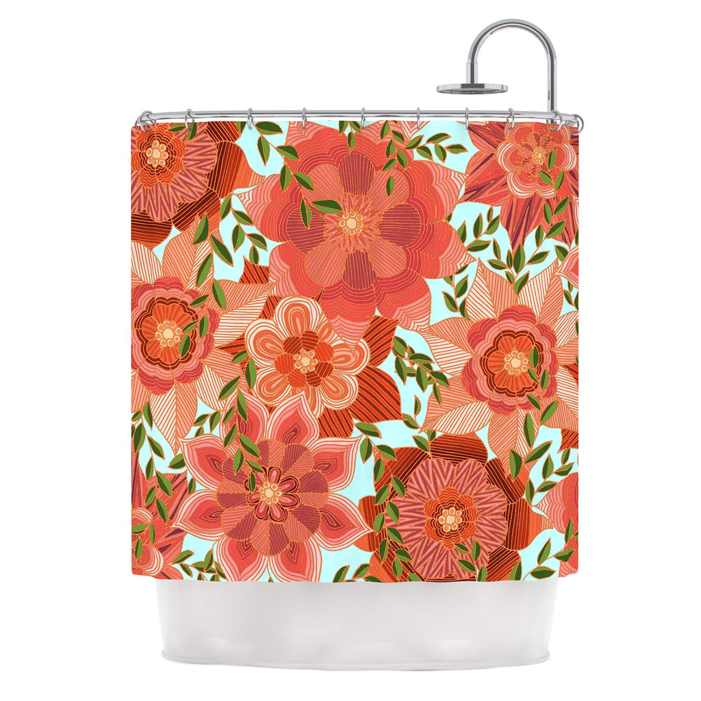 "Art Love Passion ""Flower Power"" Red Floral Shower Curtain - KESS InHouse"