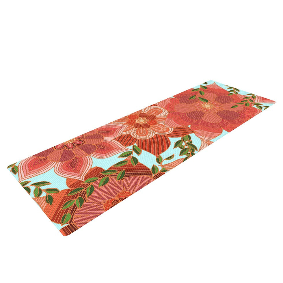 "Art Love Passion ""Flower Power"" Red Floral Yoga Mat - KESS InHouse  - 1"