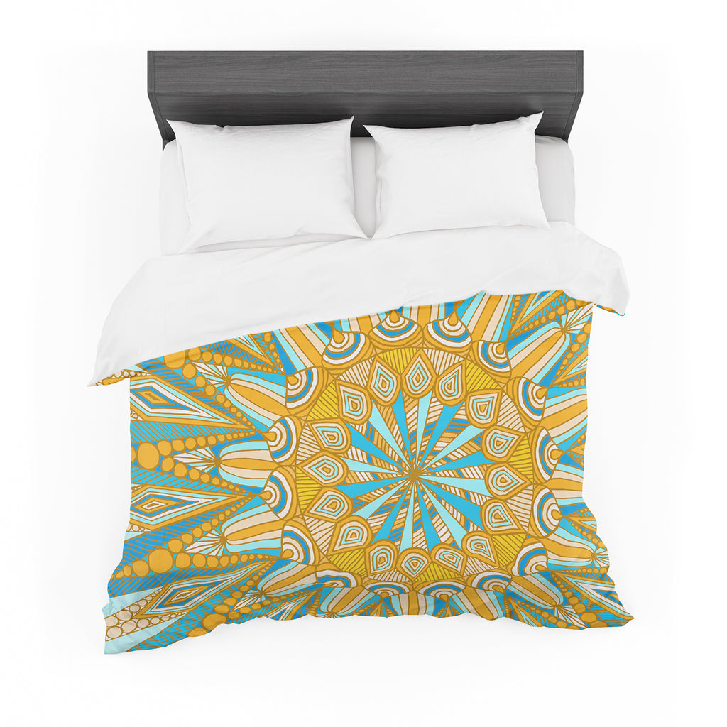 "Art Love Passion ""Here Comes The Sun"" Blue Yellow Featherweight Duvet Cover"