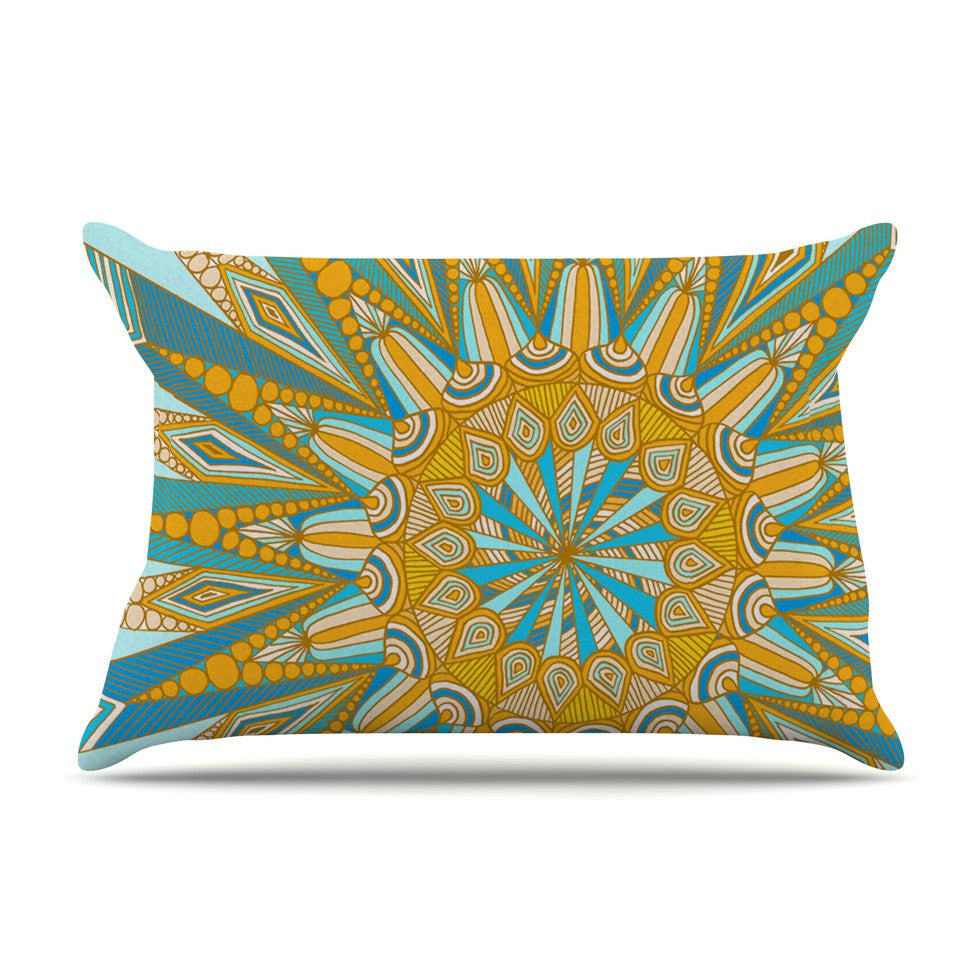 "Art Love Passion ""Here Comes The Sun"" Blue Yellow Pillow Sham - KESS InHouse  - 1"