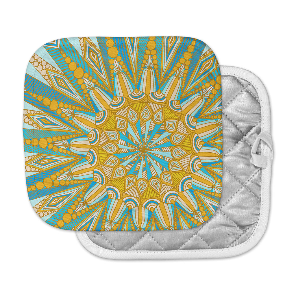 "Art Love Passion ""Here Comes The Sun"" Blue Yellow Pot Holder"