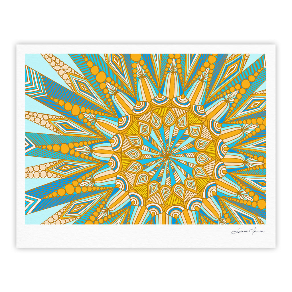 "Art Love Passion ""Here Comes The Sun"" Blue Yellow Fine Art Gallery Print - KESS InHouse"
