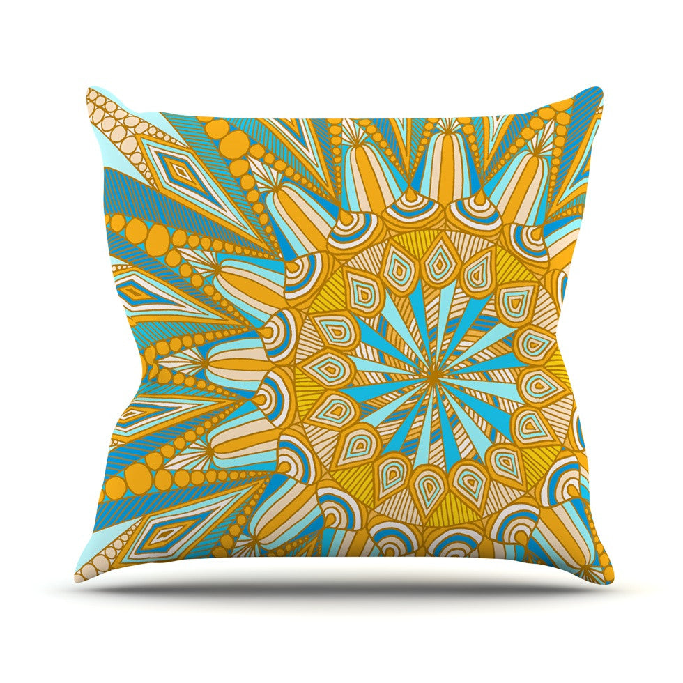 "Art Love Passion ""Here Comes The Sun"" Blue Yellow Outdoor Throw Pillow - KESS InHouse  - 1"