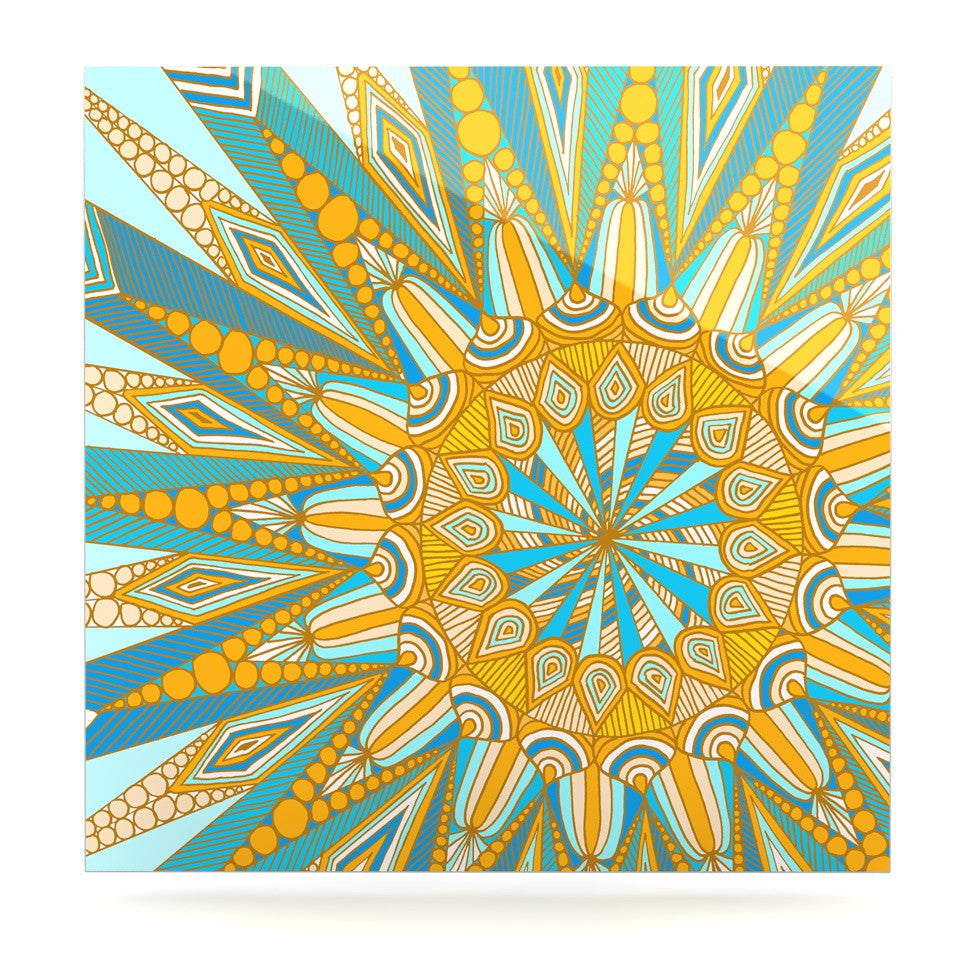 "Art Love Passion ""Here Comes The Sun"" Blue Yellow Luxe Square Panel - KESS InHouse  - 1"