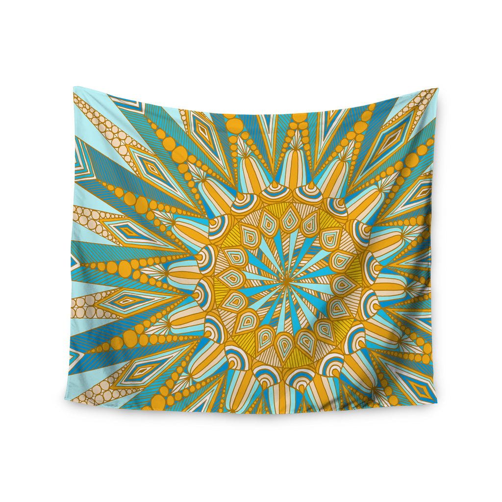 "Art Love Passion ""Here Comes The Sun"" Blue Yellow Wall Tapestry - KESS InHouse  - 1"