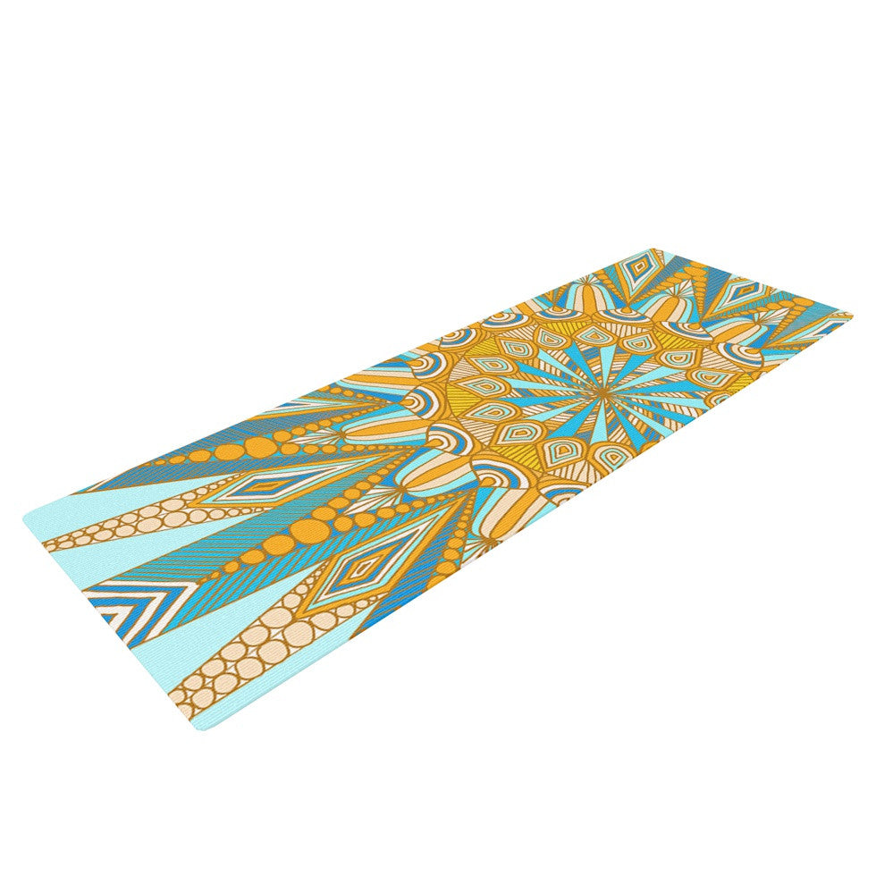 "Art Love Passion ""Here Comes The Sun"" Blue Yellow Yoga Mat - KESS InHouse  - 1"