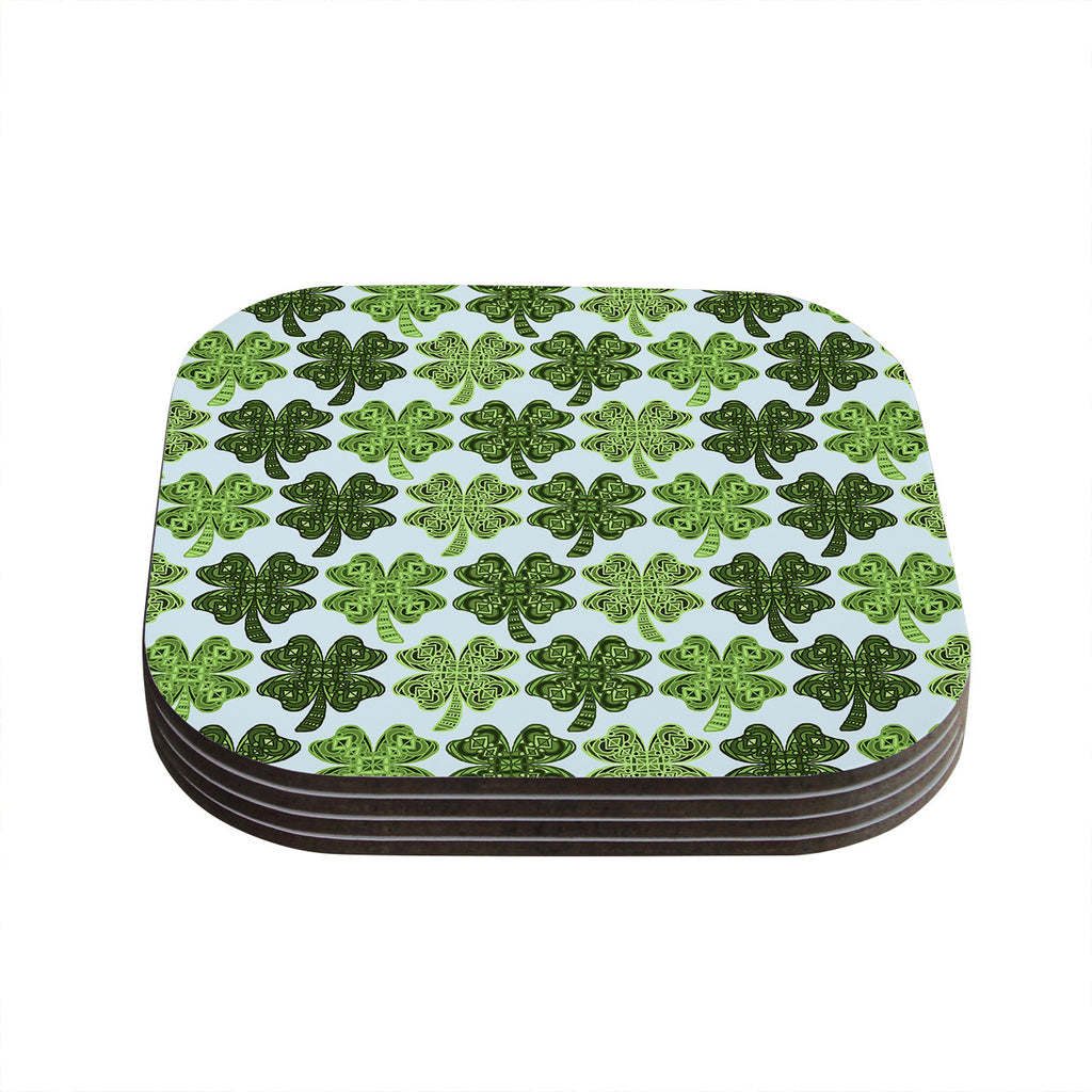 "Art Love Passion ""Lucky You"" Green Shamrock Coasters (Set of 4)"