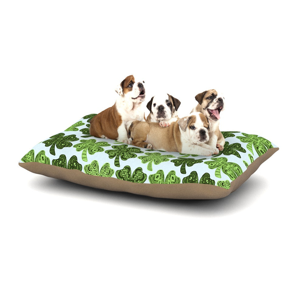 "Art Love Passion ""Lucky You"" Green Shamrock Dog Bed - KESS InHouse  - 1"