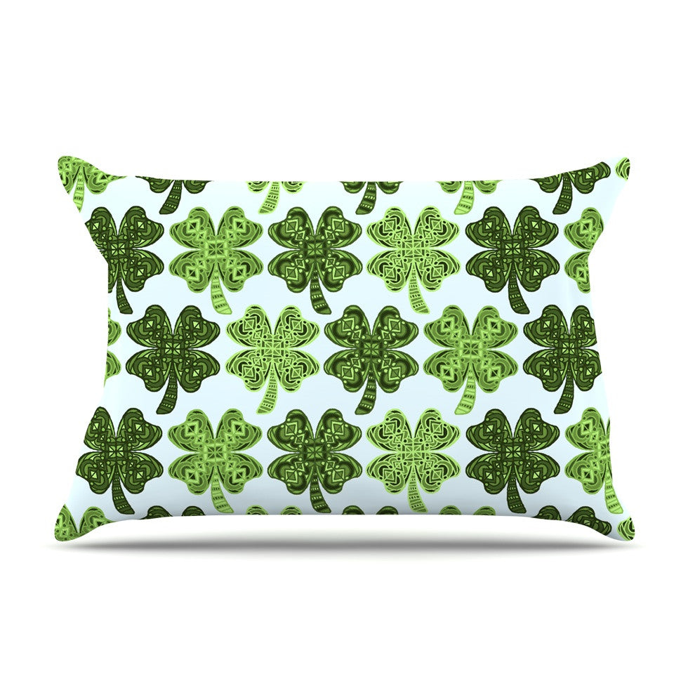 "Art Love Passion ""Lucky You"" Green Shamrock Pillow Sham - KESS InHouse  - 1"