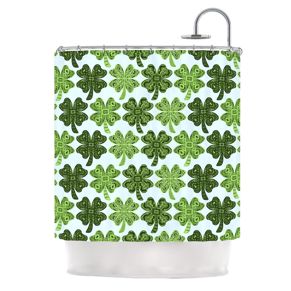 "Art Love Passion ""Lucky You"" Green Shamrock Shower Curtain - KESS InHouse"