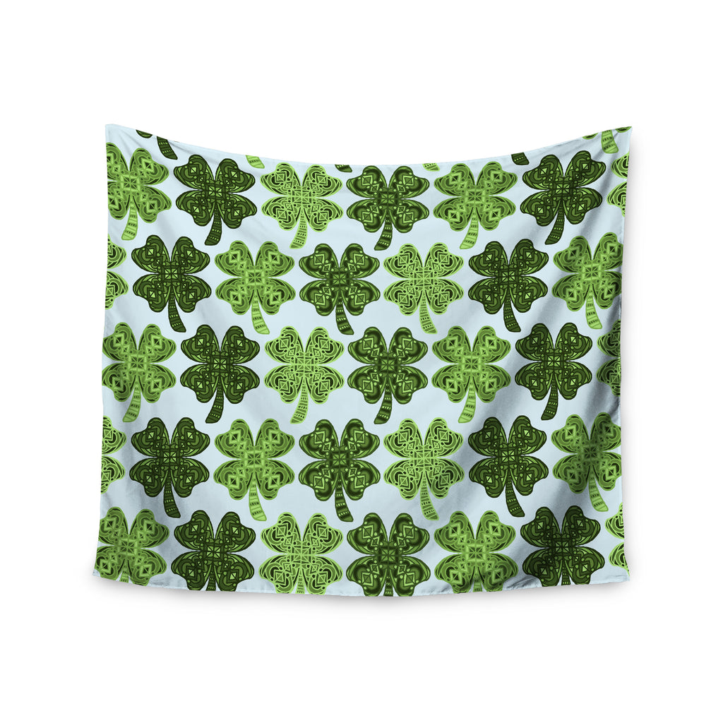 "Art Love Passion ""Lucky You"" Green Shamrock Wall Tapestry - KESS InHouse  - 1"