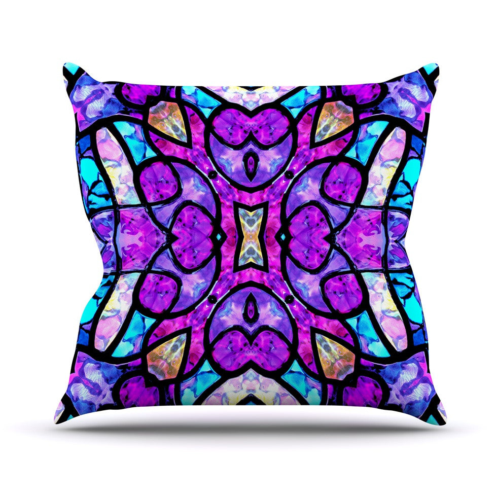 "Art Love Passion ""Kaleidoscope Dream"" Pink Purple Outdoor Throw Pillow - KESS InHouse  - 1"