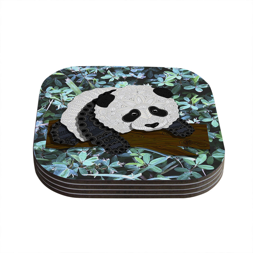 "Art Love Passion ""Panda"" Black White Coasters (Set of 4)"