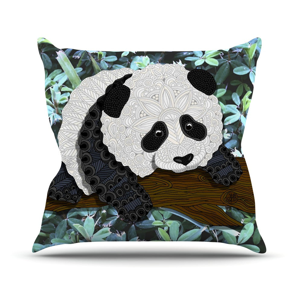 "Art Love Passion ""Panda"" Black White Outdoor Throw Pillow - KESS InHouse  - 1"