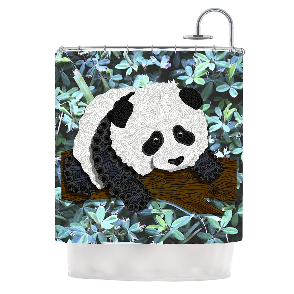 "Art Love Passion ""Panda"" Black White Shower Curtain - KESS InHouse"