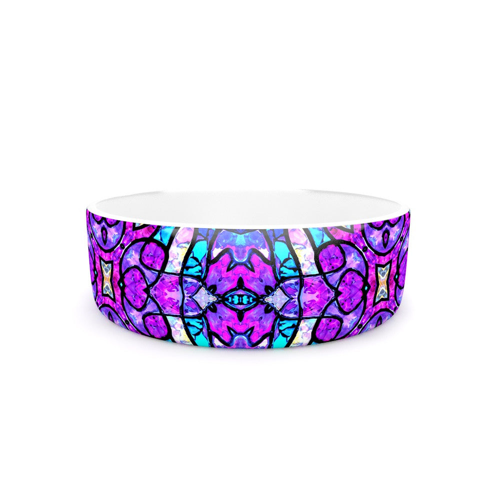 "Art Love Passion ""Kaleidoscope Dream Continued"" Purple Pink Pet Bowl - KESS InHouse"