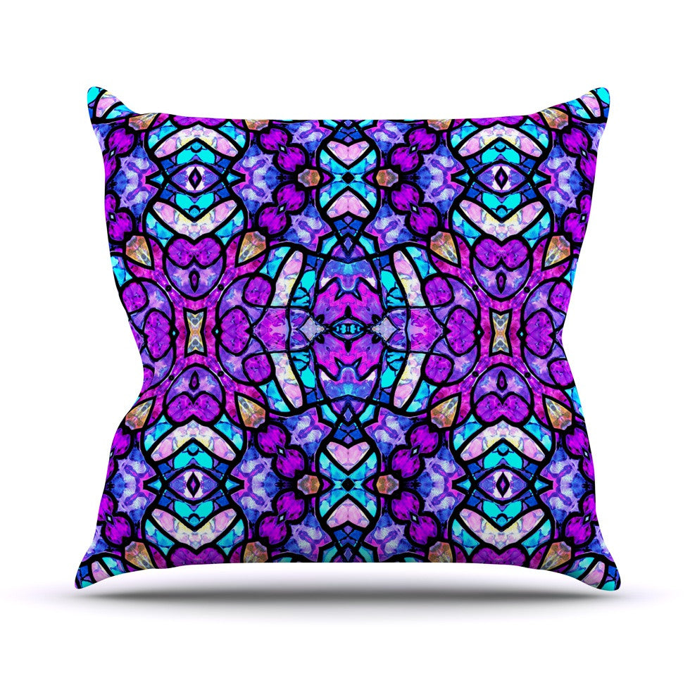 "Art Love Passion ""Kaleidoscope Dream Continued"" Purple Pink Outdoor Throw Pillow - KESS InHouse  - 1"