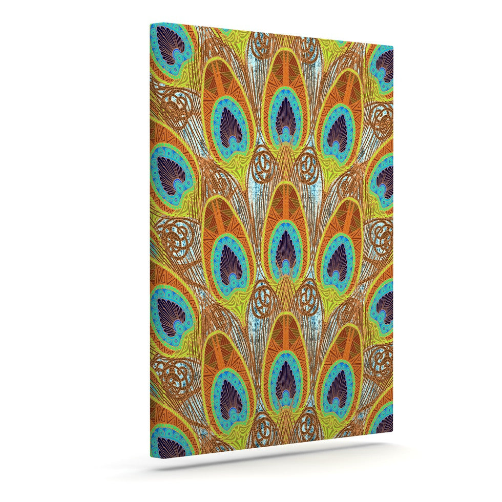 "Art Love Passion ""Peacock Pattern"" Brown Teal Canvas Art - KESS InHouse  - 1"