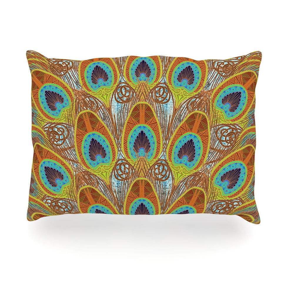 "Art Love Passion ""Peacock Pattern"" Brown Teal Oblong Pillow - KESS InHouse"