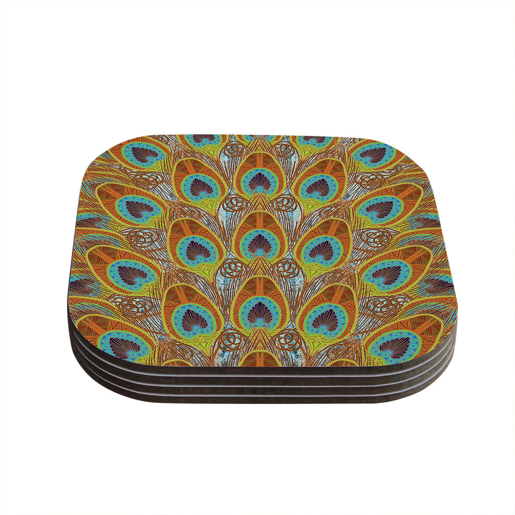 "Art Love Passion ""Peacock Pattern"" Brown Teal Coasters (Set of 4)"