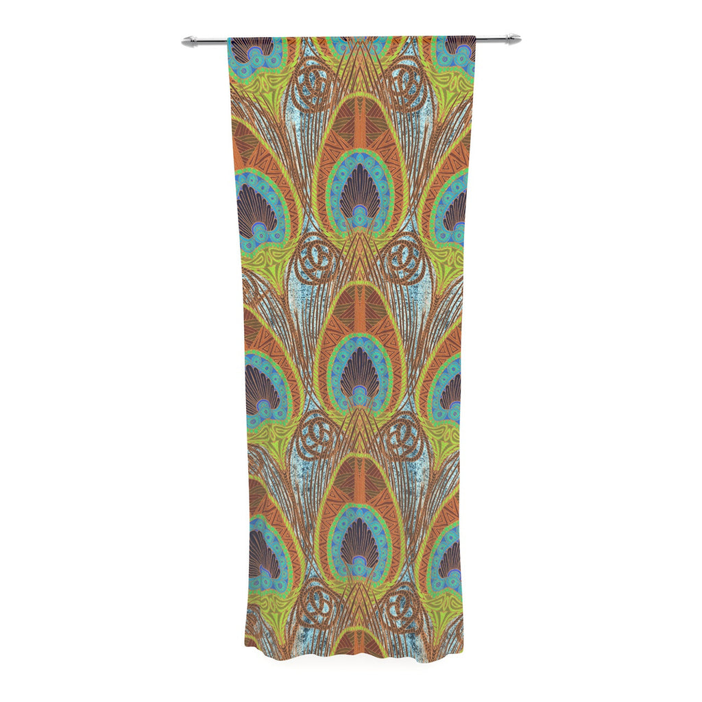 "Art Love Passion ""Peacock Pattern"" Brown Teal Decorative Sheer Curtain - KESS InHouse  - 1"