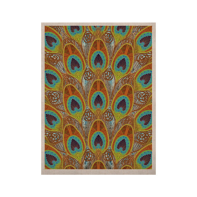 "Art Love Passion ""Peacock Pattern"" Brown Teal KESS Naturals Canvas (Frame not Included) - KESS InHouse  - 1"