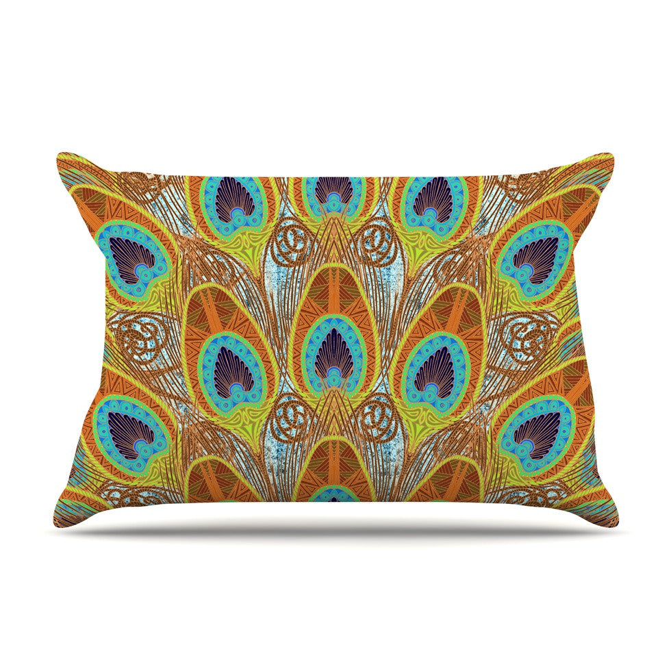 "Art Love Passion ""Peacock Pattern"" Brown Teal Pillow Sham - KESS InHouse  - 1"