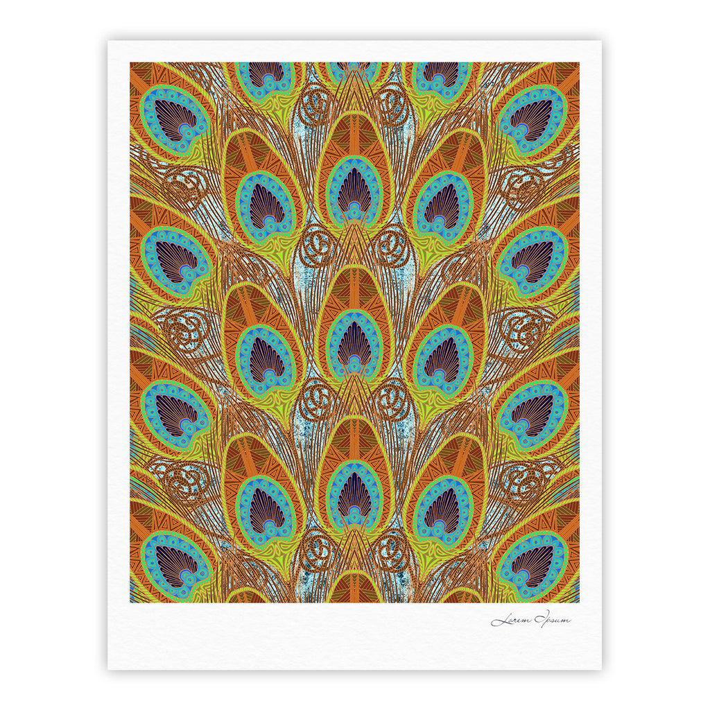 "Art Love Passion ""Peacock Pattern"" Brown Teal Fine Art Gallery Print - KESS InHouse"