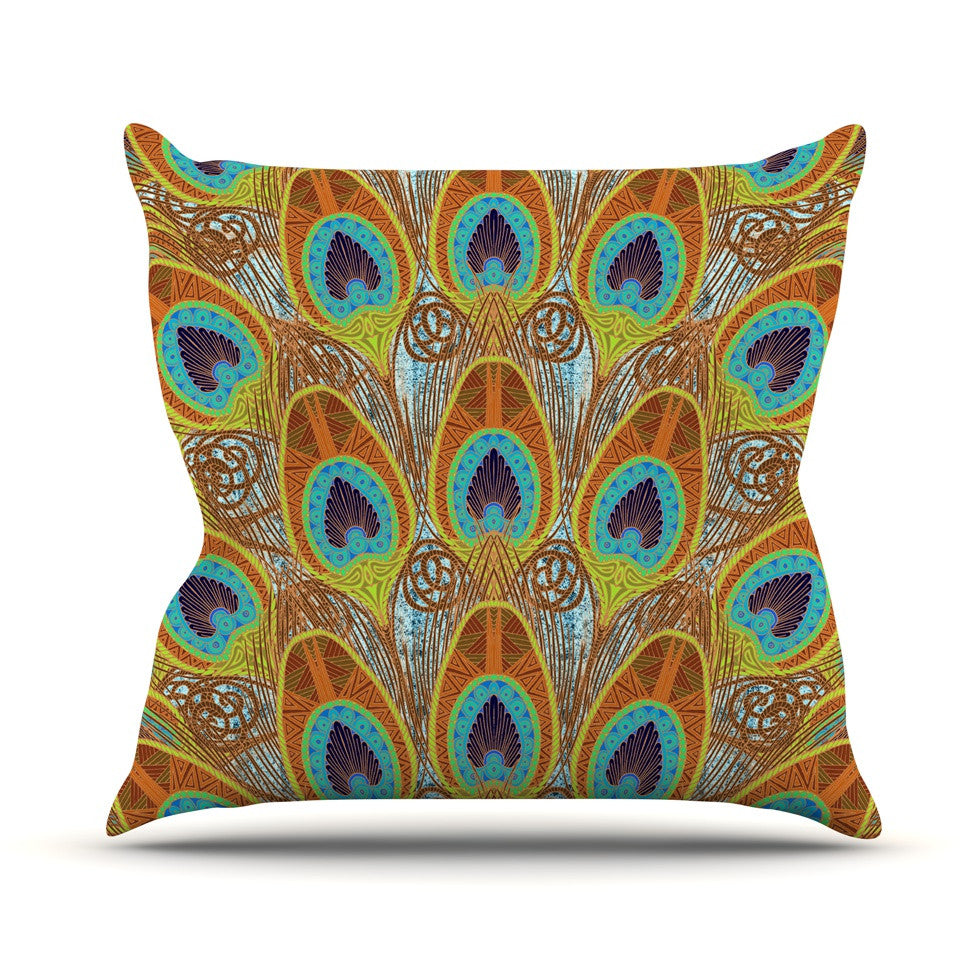 "Art Love Passion ""Peacock Pattern"" Brown Teal Outdoor Throw Pillow - KESS InHouse  - 1"