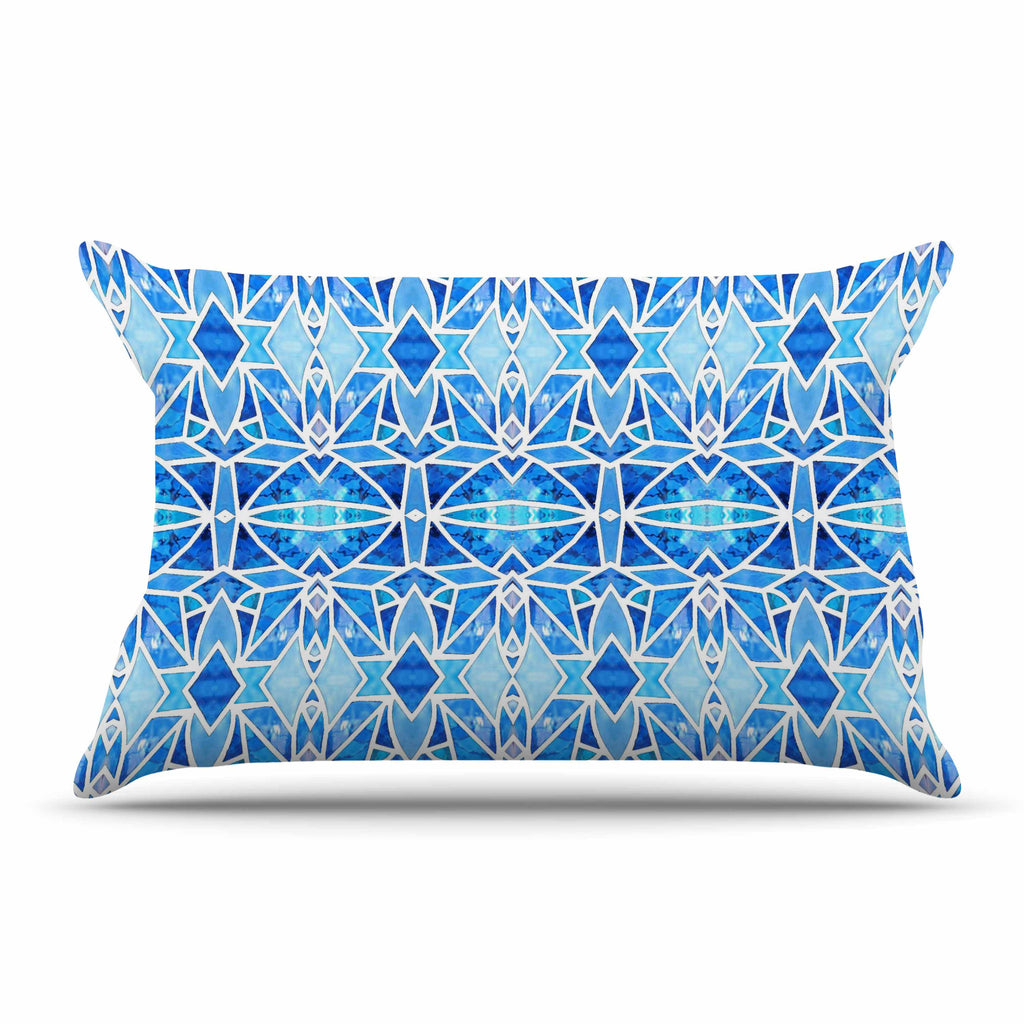 "Art Love Passion ""Blue Diamonds"" Blue Aqua Pillow Sham - KESS InHouse  - 1"