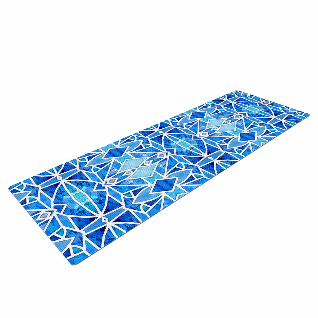 "Art Love Passion ""Blue Diamonds"" Blue Aqua Yoga Mat - KESS InHouse  - 1"