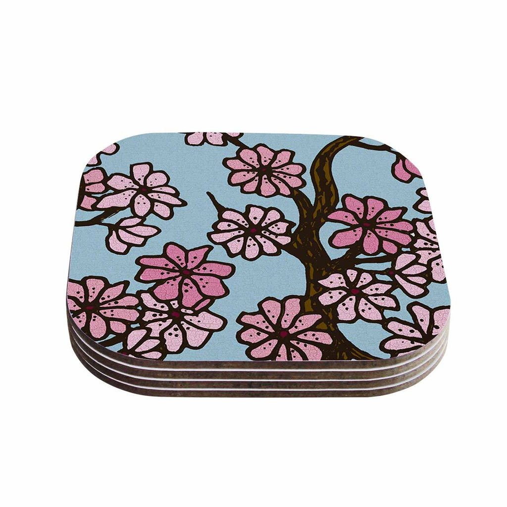 "Art Love Passion ""Cherry Blossom Day"" Floral Illustration Coasters (Set of 4)"