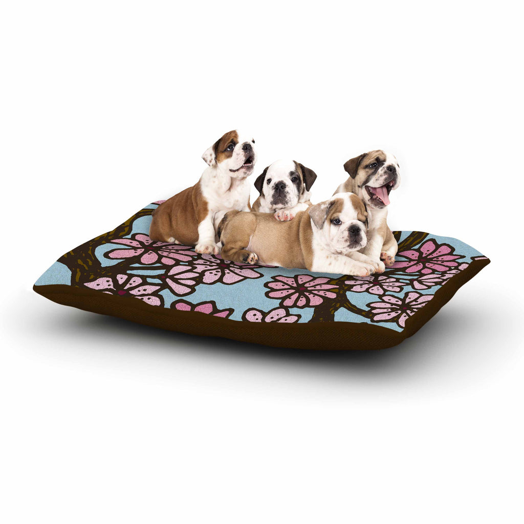 "Art Love Passion ""Cherry Blossom Day"" Floral Illustration Dog Bed - KESS InHouse  - 1"