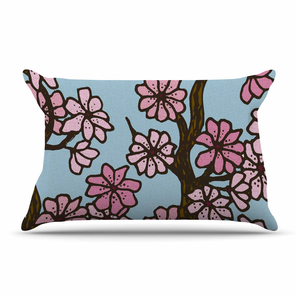 "Art Love Passion ""Cherry Blossom Day"" Floral Illustration Pillow Sham - KESS InHouse  - 1"