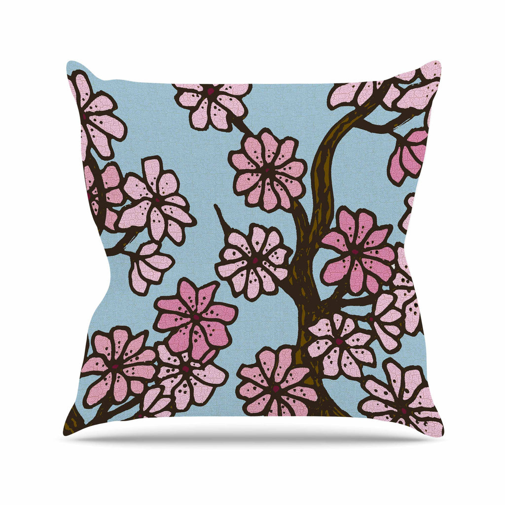 "Art Love Passion ""Cherry Blossom Day"" Floral Illustration Outdoor Throw Pillow - KESS InHouse  - 1"