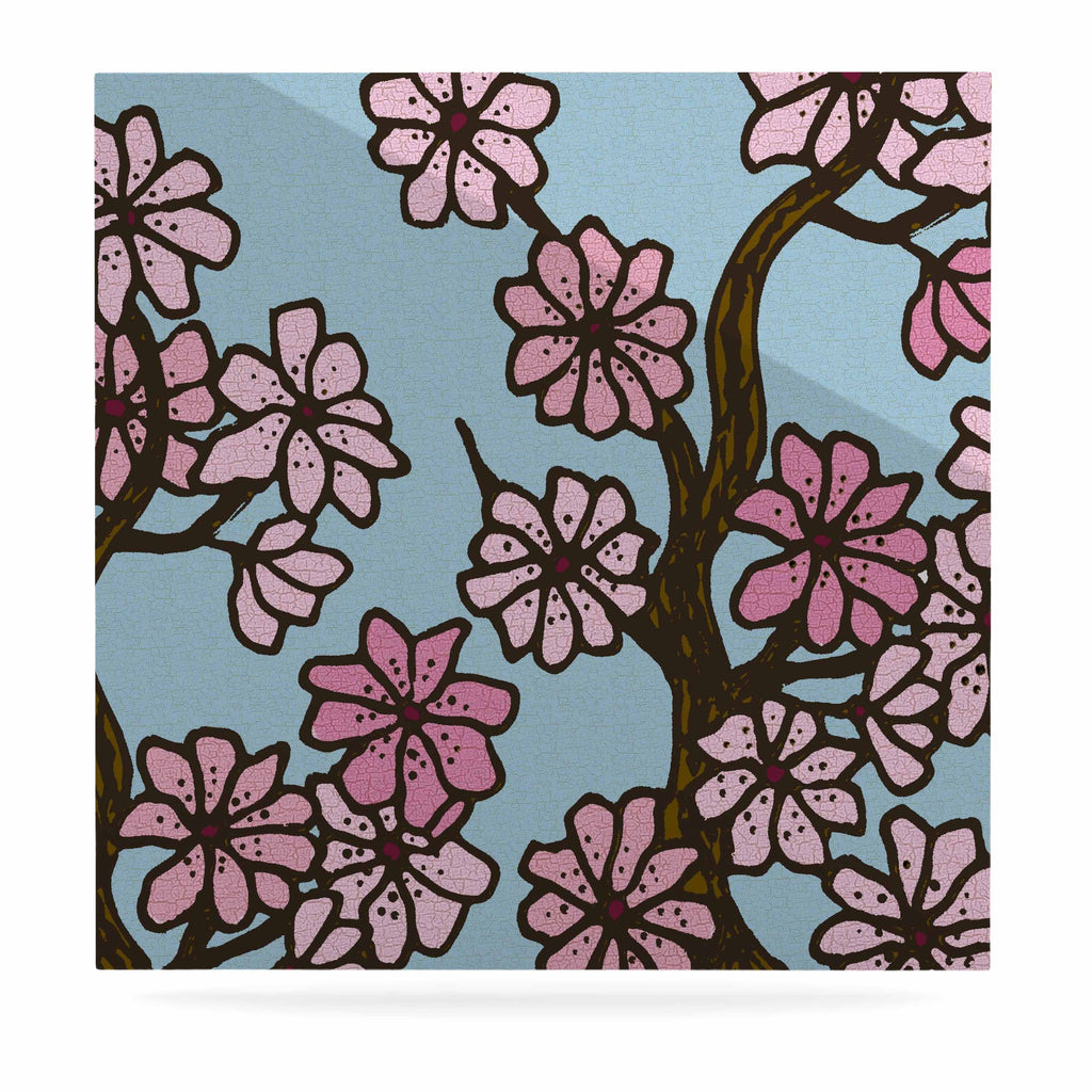 "Art Love Passion ""Cherry Blossom Day"" Floral Illustration Luxe Square Panel - KESS InHouse  - 1"