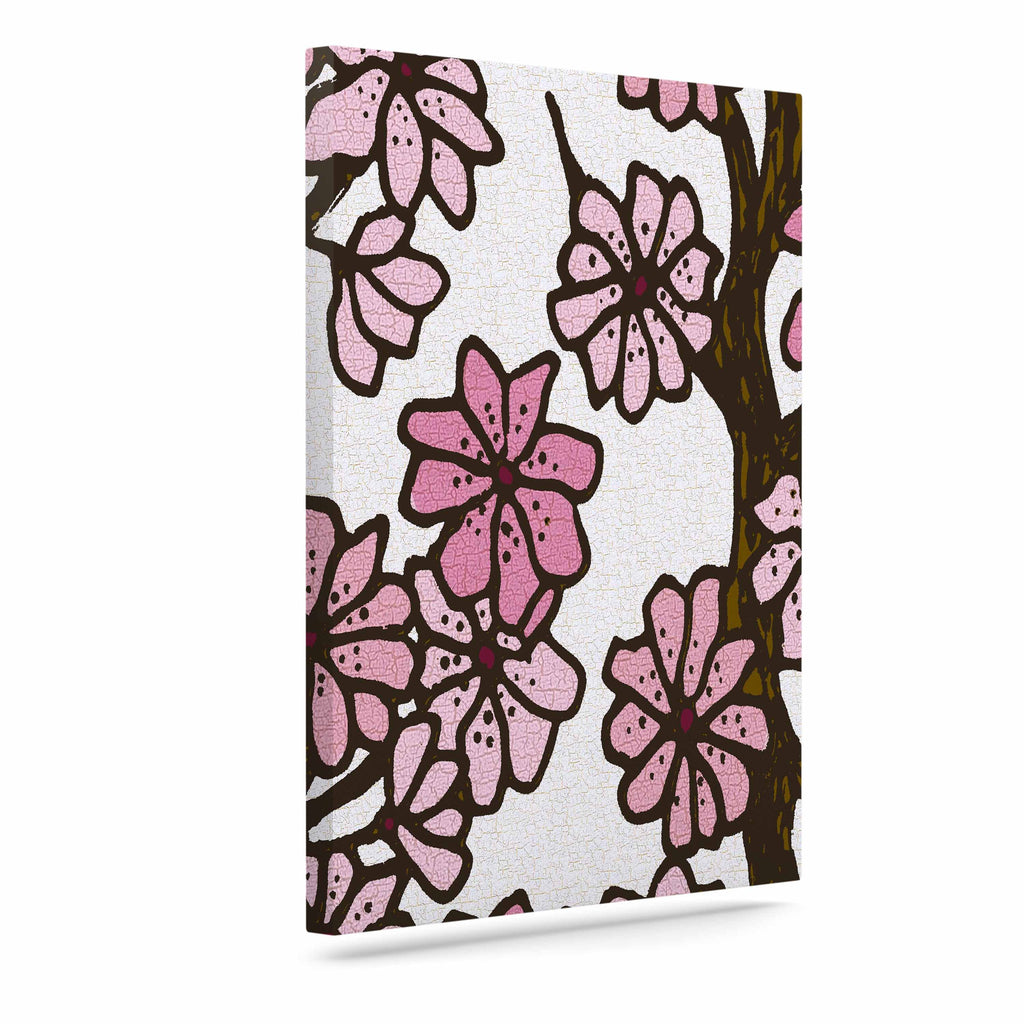"Art Love Passion ""Cherry Blossoms"" White Pink Canvas Art - KESS InHouse  - 1"