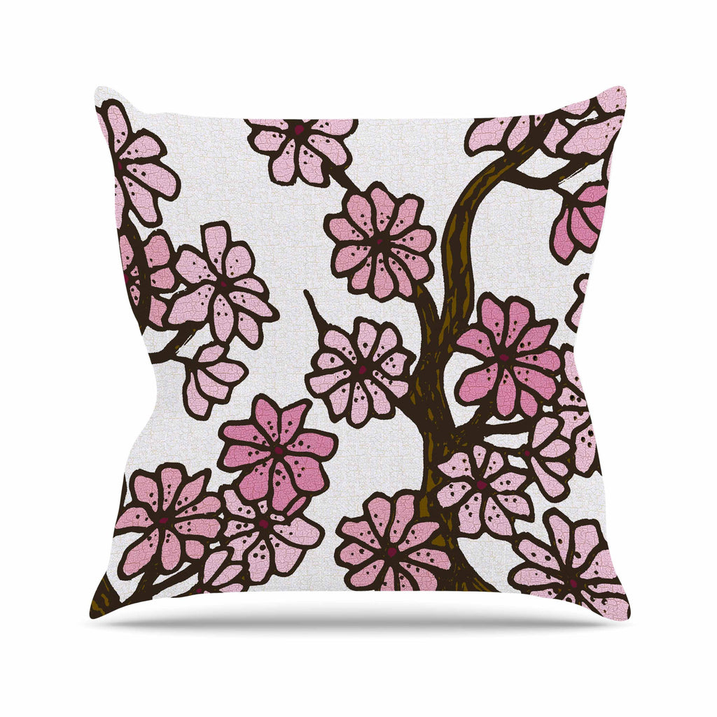 "Art Love Passion ""Cherry Blossoms"" White Pink Outdoor Throw Pillow - KESS InHouse  - 1"