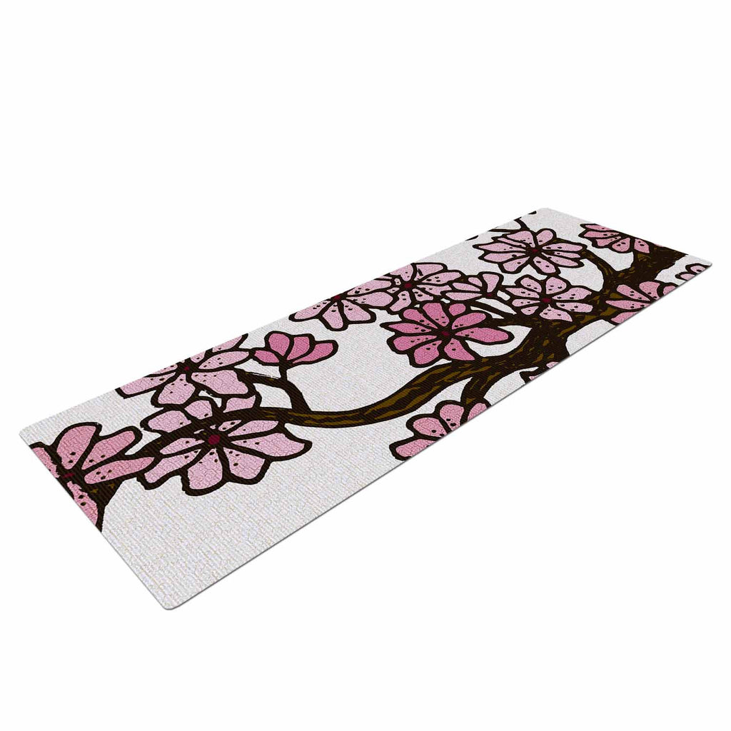 "Art Love Passion ""Cherry Blossoms"" White Pink Yoga Mat - KESS InHouse  - 1"