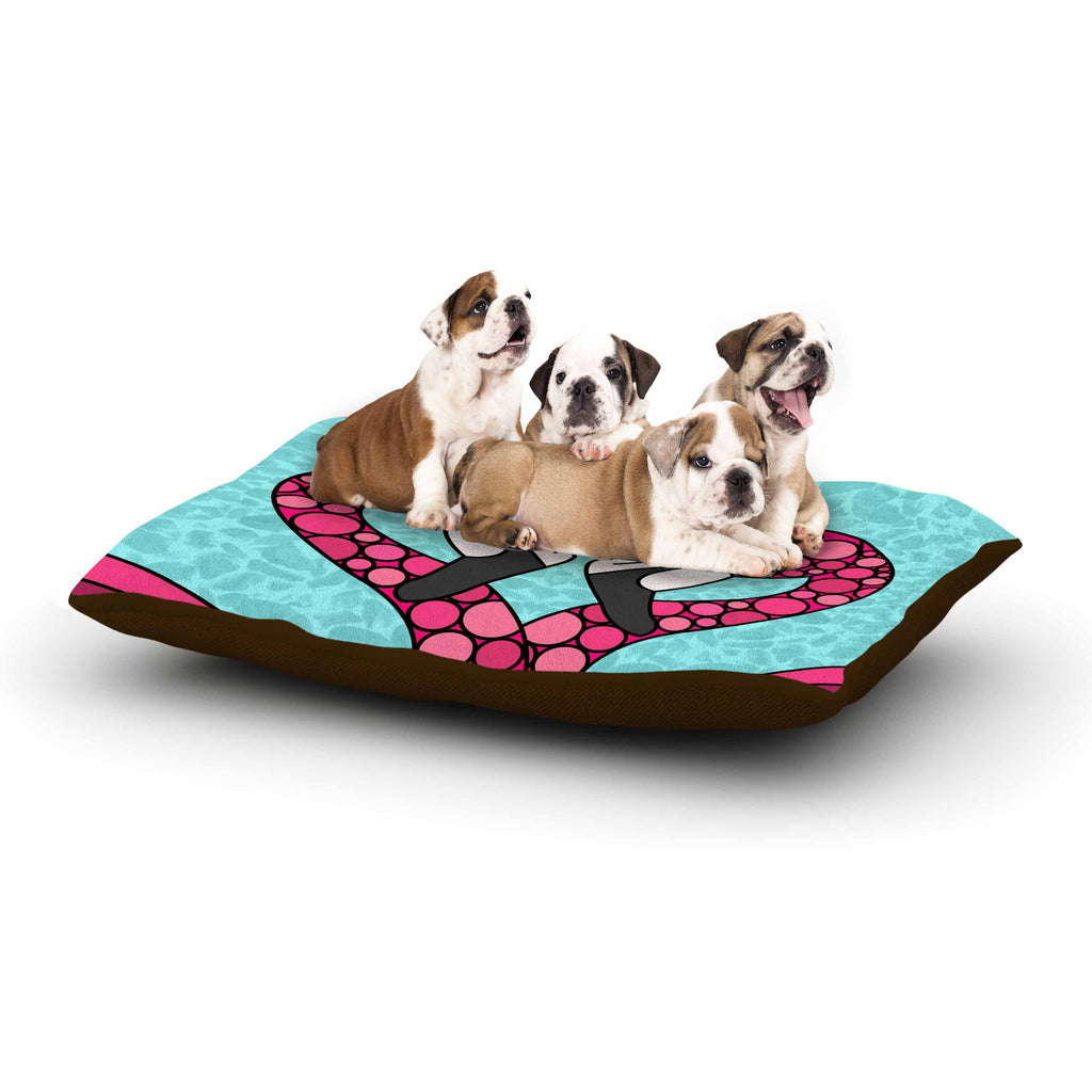 "Art Love Passion ""Pink Flamingos"" Blue Magenta Dog Bed - KESS InHouse  - 1"