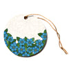 "Art Love Passion ""Blue Flower Field"" Beige Blue Circle Holiday Ornament"